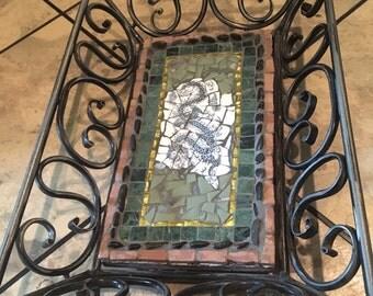 Mosaic tray, handmade, dragon motif Asian theme, wrought iron