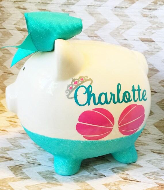 Baby Gift Piggy Bank : Piggy bank glitter baby gift by glitzymissdesignsco
