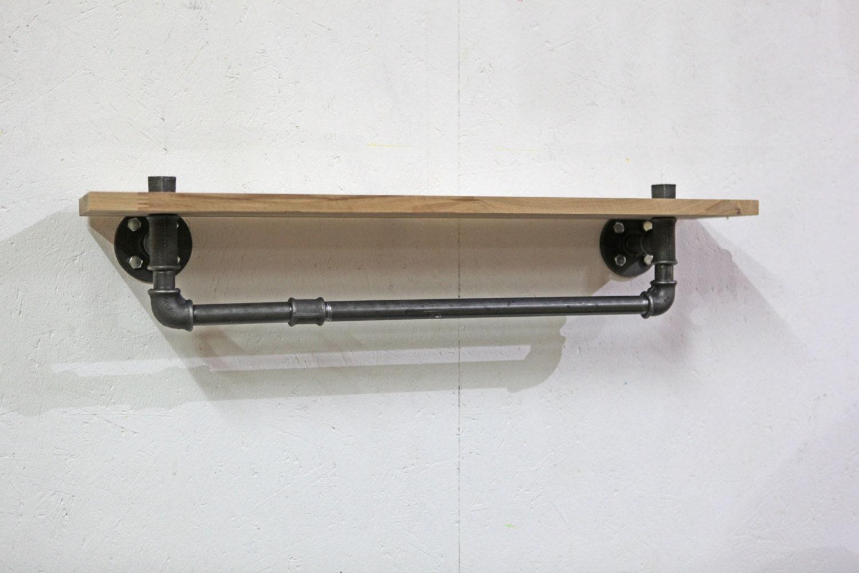 Industrial Towel Rack Shelf, Rustic Bathroom Accessories Black Iron Pipe,  Wall Mounting, Industrial