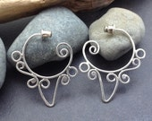 Fancy hoop earrings, individually handcrafted from solid sterling silver, ornate fancy spiral lace swirls and curls, post style hoops