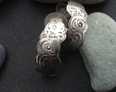 Sterling silver stud or post earrings, curved partial hoop, one of a kind unique design, entirely artisan shaped
