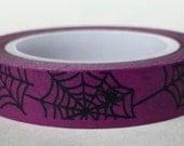 Halloween Washi Tape Thin Roll 'Spider Web' on Purple 10mm x 10 meters