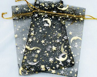 """REDUCED Beautiful Celestial Theme Organza Pouches """"Moon and Stars"""" in Black and Gold Set of 10  3.5 x 2.75"""