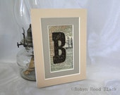 Rustic Letter B on Vintage Dictionary Page Matted to 5 X 7 - Ship