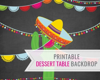 Mexican Fiesta Party Printable BACKDROP - Dessert Table Backdrop - Fiesta Backdrop - Instant Download - Edit File at home with Adobe Reader