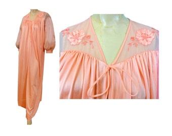 Dressing Gown Peach Negligee Robe Vintage 70s Robe Long Nylon Bathrobe Long Puffy Sleeves Sheer Trim Lorraine