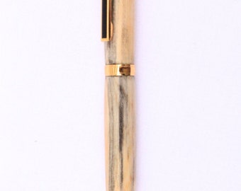 DRIFTWOOD BALLPOINT PEN, from the Strait of Juan De Fuca,  24K Gold Ballpoint Pen , Slimline twist pen, Washington Puget Sound (2193)
