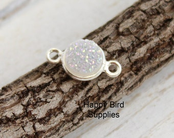 Sterling Silver Rainbow Druzy Bezel Connector  -- 1 Piece -- 8mm Link