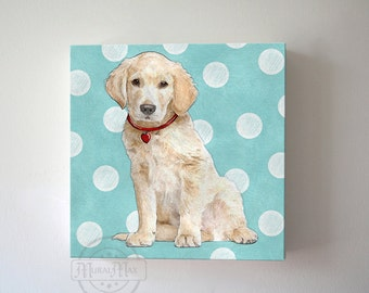 Puppy Dog Nursery Wall Decor Canvas Art, Golden Retriever Wall Art, Puppy Art for Kids Room