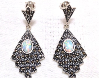 925 Sterling silver Art deco style white gilson opal and marcasite earrings