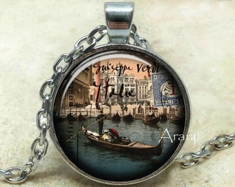 Venice gondola necklace, Venice pendant, Venice jewelry, Venetian necklace, Venetian pendant, gondola pendant, gondola, Pendant #SP165P