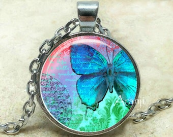 Blue butterfly pendant, butterfly necklace, butterfly jewelry, blue butterfly jewelry, blue butterfly necklace, Pendant #AN102P