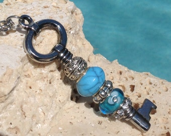 Turquoise and silver Key Necklace, Key necklace, Key pendant, Skeleton key, Turquoise key necklace