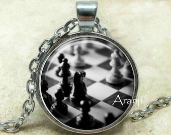Chess art pendant, chess necklace, chess pendant, chess jewelry, chessboard necklace, chessboard pendant, Pendant#HG156P