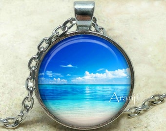 Beach art pendant, beach necklace, ocean necklace, ocean pendant, beach pendant, tropical pendant, island pendant, tropical Pendant #SP138P