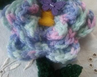 Purple crochet flower brooch/pin/butterfly