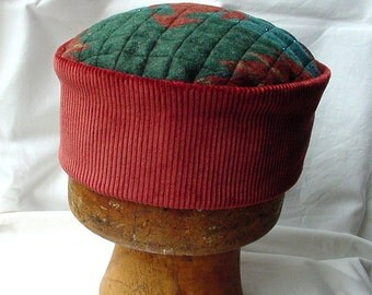 Aztec Hippie Hat Victorian Style Smoking Cap, Mens Boho Hat Quilted Beaded Pillbox Hat Red Oriental Cap, Green Tribal Blue Wizard hat