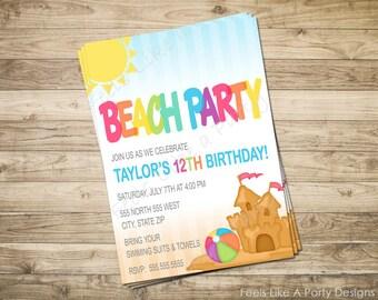 Custom Beach Party Invite