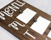 Menu Board, Rustic Menu Board, Meal Planning Board, Weekly Meal Planning, Wooden Menu Board, Menu Sign, Brown Menu Board, Walnut Stain