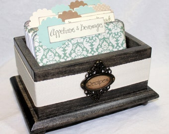 RECIPE BOX, Rustic Recipe Box, Recipe Cards, Jade Green Damask Dividers, Brown Recipe Box, Wooden Box, Dusty Green, Sage Green, Damask