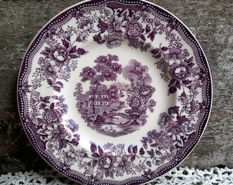 "Purple Dinner Plate, CLARICE CLIFF Tonquin Dinner Plate 10"", Royal Staffordshire, Purple Transferware, English Transferware, Serving, Decor"