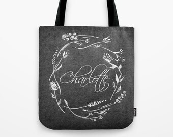 Personalized Floral Tote Bag, bridesmaid bag, personalized bag, name tote bag, black white bag, bridesmaid gift, floral tote bag