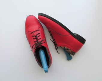 80s L'Empeigne Red Leather Boots, Preppy Lace Up Booties for the Fall, Women's US Size 9 1/2 or EU 40