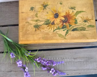sunflower painted wood box- stamps box- old antique box- hand crated box- storage box for him- fathers day -