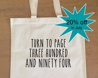 SALE! Harry Potter Tote Bag - Severus Snape - Turn to Page 394 - Alan Rickman - Hogwarts - Book Bag