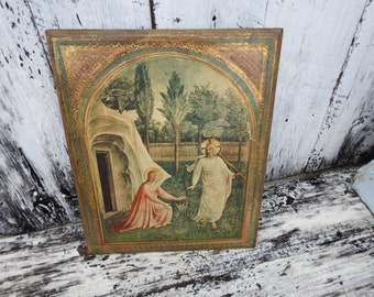 Antique Vintage Florentine Jesus Tomb Angel Gold Italy Italian Wall Plaque Hanging