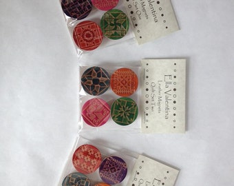 Quilt Design Leather Magnet Sets