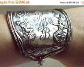 65% OFF SALE Antique Victorian Silverplate Armlet Fairy Wide Cuff Bracelet Dancing Nymphs Ladies Goddess Maiden Art Nouveau Repoussé Spartan