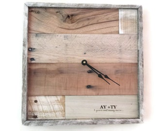 Wedding Clock, Anniversary Clock, Rustic Home Decor, reclaimed wood clock, pallet wood wall clock, personalized, laser engraved clock