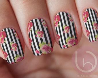 Black Line Floral WaterSlide Decal, Nail Design, Nails, Press On Nail Decal, Nail Design, Nail Art