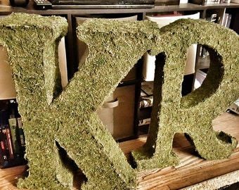 Moss covered letters -Wedding Monogram letters-Moss decor- Moss monogram- Moss decor- home decor moss covered letters- free standing