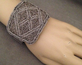 Original Design - Antique Late 1800s French Cut Steel Beaded Shoe Buckle Bracelet, 1950s Stretch Band will fit Most