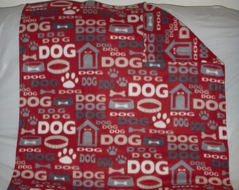 Doggy Blanket - pretty gray and dark red dog print fleece with the same pattern on the reverse side