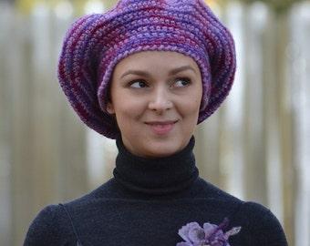 Sweet berries, OAAK crochet hat from original hand spinned yarn 100% wool - cherry, marsala, purple - warm hat for winter - ready to ship