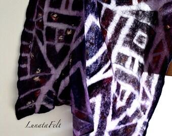 Dreamcatcher -  nunofelt ligth weight wool and silk big scarf, shawl 200x75 cm, for any season, OOAK, ready to ship