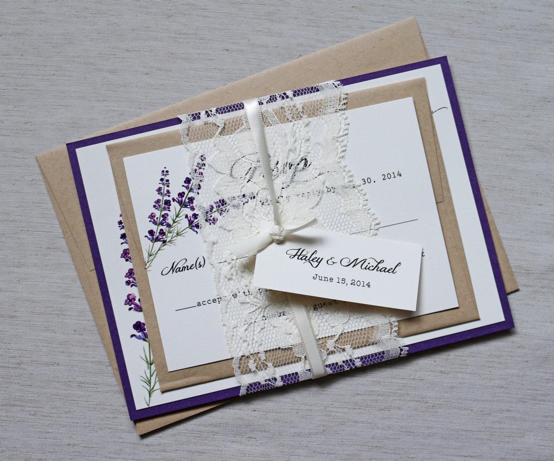 Purple Rustic Wedding Invitations: Lace Wedding Invitations Lavender Wedding Invitation Rustic