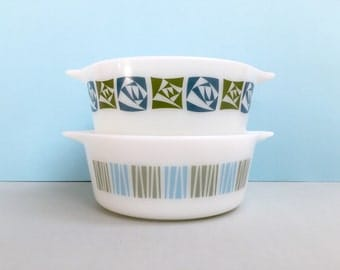 JAJ Pyrex 'Matchmaker' and 'Checkers' 472-size equiv. casserole dishes [sold separately]
