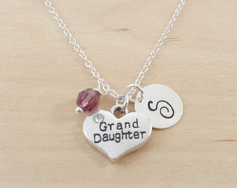 Granddaughter Charm Necklace - Granddaughter Charm - Birthstone Necklace - Personalized Gift - Initial Necklace - Sterling Silver Jewelry