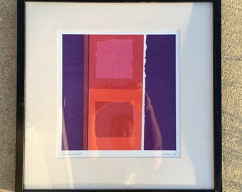 Colorful Abstract Print Signed 1970's Framed...Mid Century Modern