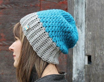 Slouchy Hat . Two Tone Hat for Women . Wool Free . Made in Canada {  Grey & Blue  }