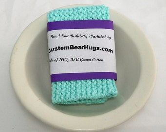 Hand Knit Cotton Washcloth, Large Knit Cotton Dishcloth in Beach Glass Green, Mix and Match to Make a Custom Set, Housewarming or Baby Gift