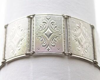 Large Vintage Sterling Bracelet, big panel bracelet, rectangular link bracelet, big sterling silver bracelet, panel link bracelet, signed