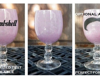 """Perfect Storm Unique Pink Blown Wine Glass Swirly fake Mustache Costume Murano Art Purple Sherry 'Stache Goblet Crystal Stem 6"""" shower Gift"""