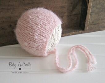 Newborn Bonnet - Brushed Suri Alpaca | Classic Round Back | Newborn Prop