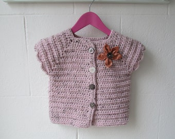 Crochet short sleeve cardigan with flower detail
