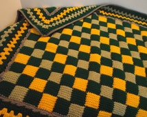 Crochet Entrelac Afghan Granny Square Blanket Tunisian Throw Small Afghan Lapghan ready to ship!